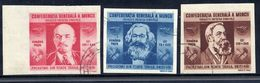 ROMANIA 1945 Trades Unions Imperforate Set Of 3, Used  Michel  864-66 - 1918-1948 Ferdinand, Charles II & Michael