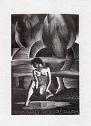 EX LIBRIS BOOKPLATE Di Wood Engraved Creato Per Howard Moorepark - Ex Libris