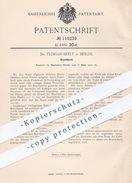 Original Patent - Dr. Florian Beely , Berlin 1900 , Bruchband   Verband , Medizin , Arzt , Chirurg , Orthopäde , Schiene - Historische Dokumente
