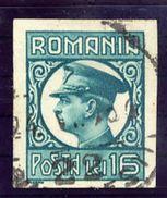 ROMANIA 1930 Carol II Definitive 16 L. Imperforate, Used.  Michel 384U - 1918-1948 Ferdinand, Charles II & Michael