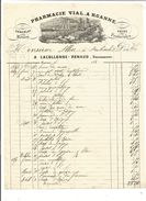 BELLE FACTURE PHARMACIE VIAL  ROANNE LOIRE 1856 - France