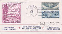 United States 1941 First Flight F.M.19 Los Angeles To Suva Fiji, Souvenir Cover - Brieven En Documenten