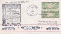 United States 1941 First Flight F.M.19 San Francisco To Suva Fiji, Souvenir Cover - Etats-Unis