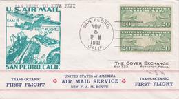 United States 1941 First Flight F.M.19 San Pedro To Suva Fiji, Souvenir Cover - Brieven En Documenten