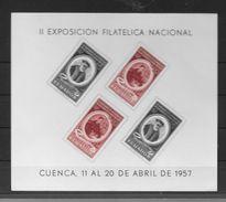 AÑO 1957 ECUADOR EQUATEUR II EXPOSICION FILATELICA NACINAL CUENCA ABRIL 1957 BLOC YVERT TELLIER NRO. 2 MNH - Ecuador
