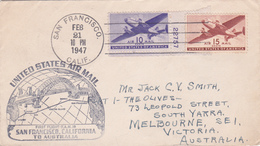 United States 1947 First Flight F.M.19 Cover San Francisco To Australia - Etats-Unis