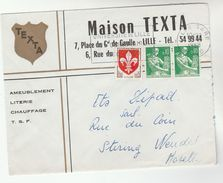 1960 Lille FRANCE COVER Illus ADVERT MAISON TEXTRA , Stamps - Covers & Documents