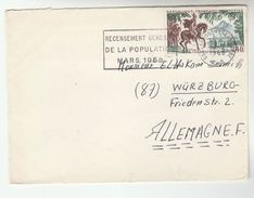 1966 Claremont FRANCE  COVER SLOGAN Pmk 1966 POPULATION CENSUS To Germany, Vercingeetorix Horse Stamps - Covers & Documents