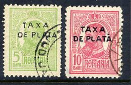 ROMANIA 1918 Postage Due Overprints Perforated 11½, Used.  Michel 40-41, SG D673-74 Cat. £27 - Postage Due
