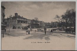 Geneve - La Gare, Fuhrwerke, Dampfwalze, Kutsche, Animee - Photo: Jullien Freres No. 491 - GE Genève