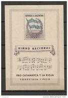 ARGENTINA 1944 PRO CATAMARCA Y LA RIOJA -   BLOC - Yvert # 4 - * MINT (LH) - Topical FLAGS - MUSIC - Blocs-feuillets