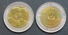 Thailand Coin 10 Baht Bi Metal 2002 90th Vajira Medical College Y384 - Thailand