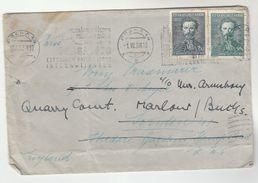 1938 CZECHOSLOVAKIA  COVER To  KILBURN GB REDIRECTED Marlow SLOGAN  Praha PHILATELIC EXHIBITION, Stamps - Czechoslovakia