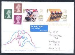 United Kingdom UK GB 2012 Air Mail Cover Cycling Radfahren Cyclisme Olympic Games London; Team Pursuit; Bradley Wiggins - Ciclismo