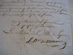 LETTRE SIGNEE D'ANDRE-PAUL SAIN-ROUSSET DE VAUXONNE 1812 MAIRE LYON HYGIÈNE SALUBRITE CASERNE à JULLIEN DE VILLENEUVE - Autographes