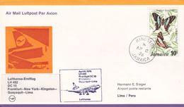 Jamaica 1976 Lufthansa Inaugural Flight LH 492 From Frankfurt To Lima Peru, Souvenir Cover - Jamaica (1962-...)