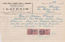 D 56 - VANNES - L'AVENIR - Monuments Funéraires - 1937 - 2 Timbres Fiscaux 75c & 25c - 1900 – 1949