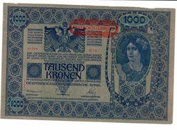 Austria 1000 Kronen 1919 II Auflage AUNC Missing Paper Top Margin - Austria