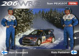 2001 World Rally Championship - Team Peugeot - Peugeot 206WRC  -  Harri Rovanpera-Risto Pietilainen  -   Carte Promo - Rallyes