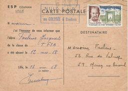 France 1968 Lille School Absence Info Vetenary Card - Brieven En Documenten