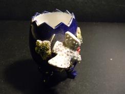 OEUF EN CERAMIQUE BLEU A DECOR D OISEAU 7 X 7 CM 92 GR - Ceramics & Pottery