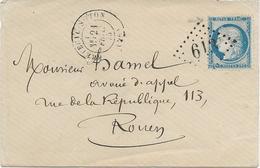 LETTRE AFFRANCHIE N° 60 AVEC VARIETE SUR LETTRE - OBLITERE LOSANGE GC 613 -BRETEUIL SUR ITON -EURE -1875 - Postmark Collection (Covers)