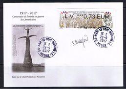 ATM, NABUCCO, FDC, LV 0.73, Dédicacée Par Mme BEAUJARD. Centenaire De L'entrée En Guerre Des Usa, Gondrecourt Le Château - FDC