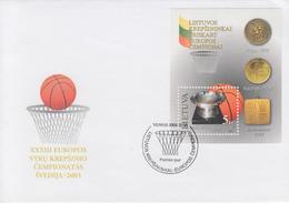 Enveloppe  FDC  1er  Jour   LITUANIE   Bloc   Feuillet   Vainqueur   Championnat  D' Europe   De   Basket Ball    2003 - Pallacanestro