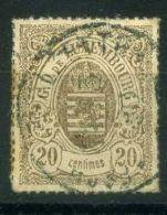 LUXEMBOURG  (  POSTE  ) : Y&T N°  19  TIMBRE  TRES  BIEN OBLITERE , A  VOIR . - 1859-1880 Wappen & Heraldik
