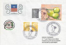 Mayotte France 2012 Mamoudzou Orange Fruit Shooting Club Handstamp Cover - Brieven En Documenten