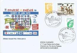 Mayotte France 2013 Mamoudzou Course De Pneus Handstamp Cover - Brieven En Documenten