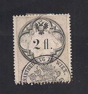 1 Austria Revenue  2 Fl. 1866 - Papier Weiss - Gezähnt 12 U. 12 1/2 - Mit WASSERZEICHEN - Steuermarken