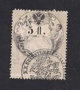 1 Austria Revenue  5 Fl. 1866 - Papier Weiss - Gezähnt 12 U. 12 1/2 - Mit WASSERZEICHEN - Steuermarken