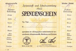 Spendenschein Von 1943 (Schuhe Etc) - Historische Dokumente