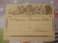 Fev 1872 - Belgique / Belgium - Entier Postal / Postal Stationary - Carte - Correspondance - 1869-1888 Lion Couché