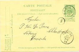 YY612 - Entier Postal Armoiries HAMME 1909 Vers TAMISE - Origine Manuscrite Verhelst à ELVERSELE - Entiers Postaux