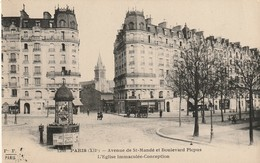 CP Paris XIIe - Avenue De Saint-Mandé Et Bd Picpus - Eglise Immaculée Conception - 1927 - Vue Assez Rare - Arrondissement: 12