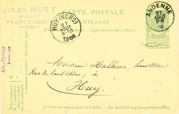YY613 - Entier Postal Armoiries ANDENNE 1906 Vers HUY - Cachet Jules Huet , Avocat - Entiers Postaux