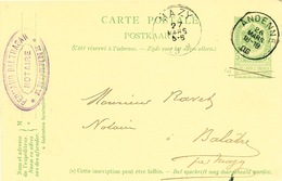 YY614 - Entier Postal Armoiries ANDENNE 1906 Vers BALATRE Par MAZY - Cachet Ferdinand Balthasar , Notaire - Entiers Postaux