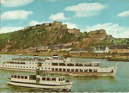 """Battello (Motorschiff) """"Koln"""", Koblenz An Rhein Und Mosel (Germania) Festung Ehrenbreitstein, Fortezza Ehrenbreitstein - Traghetti"""
