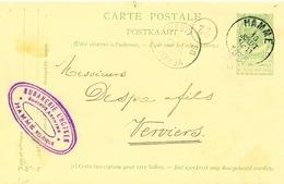 YY615 - Entier Postal Armoiries HAMME 1905 Vers VERVIERS - Cachet S.A. Rubanerie L'Hofken - Gérante Sebrechts - Entiers Postaux