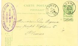 YY617 - Entier Postal Armoiries HAMME 1909 Vers FLEURUS - Cachet Van Hove-Sturm , Cordier - Entiers Postaux
