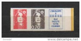 1993 - YVERT N° 2824b ** - COTE = 20 EUROS - SANS VAL+ 70c+VIGNETTE AUTOADHESIFS PROVENANT DE CARNET - 1989-96 Bicentenial Marianne