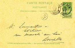YY618 - Entier Postal Armoiries LOKEREN 1903 Vers BXL - Cachet Apotheek Drogerij Arthur Wauters - Entiers Postaux