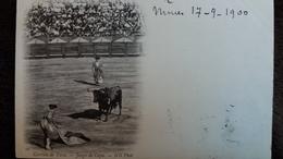 CPA CORRIDA DE TOROS JUEGO DE CAPA  ND PHOTO NIMES 17 9 1900 PRECURSEURS - Stierkampf