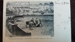 CPA CORRIDA COURSES DE TAUREAUX DESCABELLO A LA BALESTILLA PAR REVERTE NIMES 17 9 1900 PRECURSEURS - Stierkampf