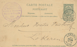 YY619 - Entier Postal Armoiries OSTENDE 1899 Vers LOKEREN - Cachet Chapellerie Civile Et Militaire Maison Fremaut - Entiers Postaux