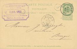 YY622 - Entier Postal Armoiries ROULERS 1902 Vers BRUGES - Cachet Métaux , Quincaillerie , Charbons De Meester - Entiers Postaux