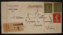 1919 Valence, Eugène Brun Huissier Recommandé Pour Aouste Drôme - Postmark Collection (Covers)