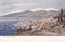 BERUIT, BEIROUTH, BEIROUT, BEIRUT MIT DEM LIBANON. ILLUSTRATION. CIRCA 1950s TBE - BLEUP - Libanon